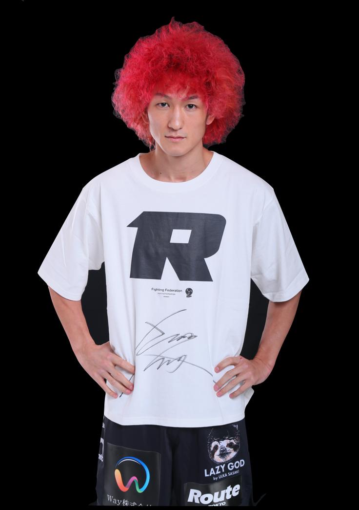 【公式】実使用・本人直筆サイン入「RIZINオリジナルTシャツ」佐々木 憂流迦