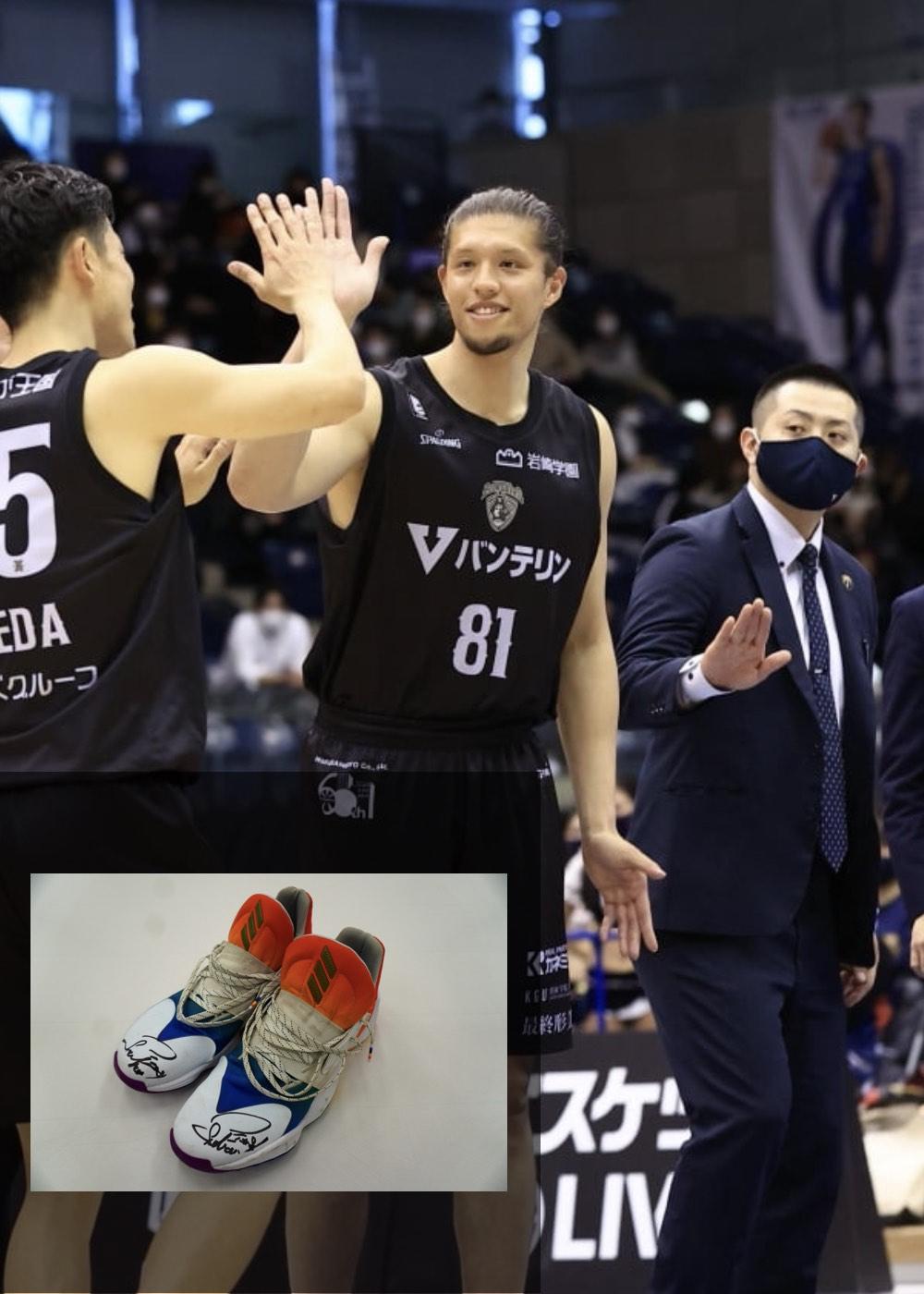 【公式】実使用・本人直筆サイン入り「バスケットボールシューズ①」#81 小原 翼